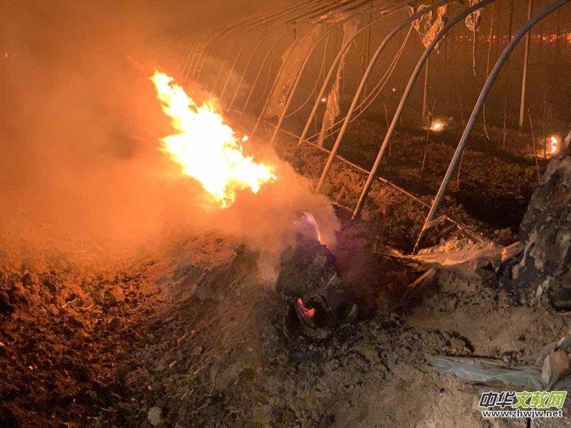 3月3日晚沧州青县新兴镇西城村8座大棚失火