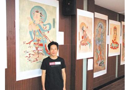 青年书画家林清泉以工笔重彩的笔墨形式展现了敦煌,永乐宫壁画无穷魅图片